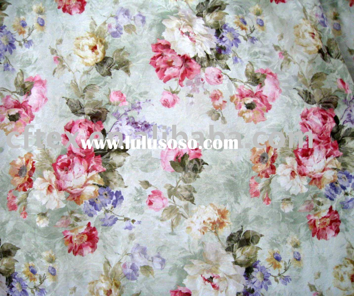 tradition style polyester cotton flower decorative fabric