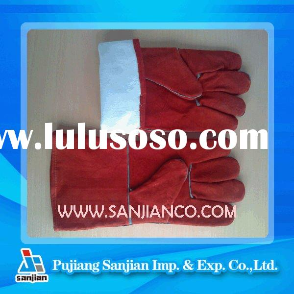 14inch long cow split welding leather glove