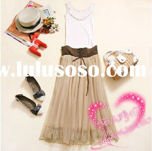 2012 solid color lace long skirt women ball gown picture color big size slim skirt free shipping
