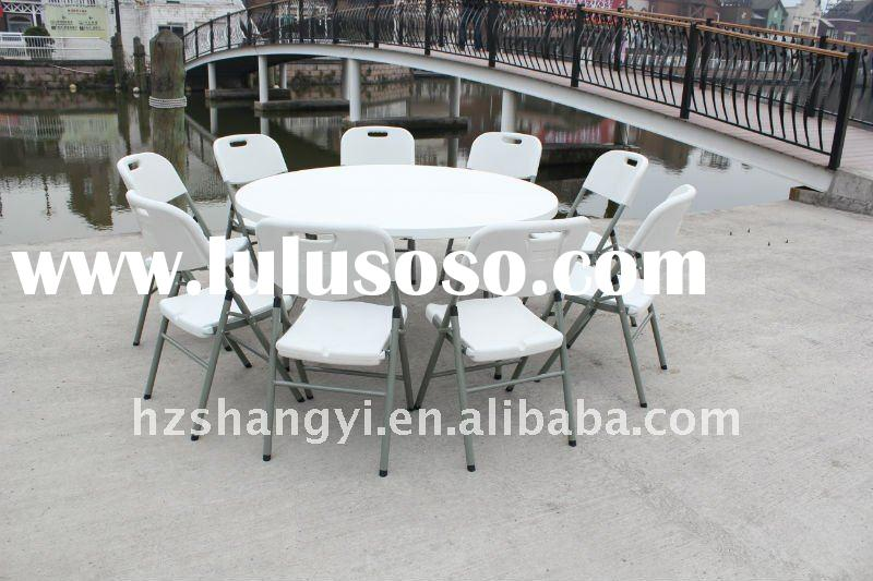 60inch white plastic camping round foldable tables and chairs