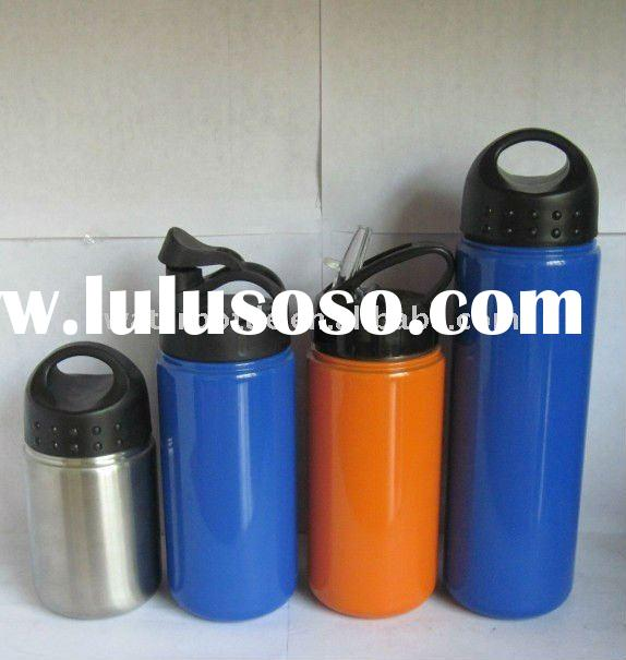 BPA-free single wall stainless steel water bottle with different lids