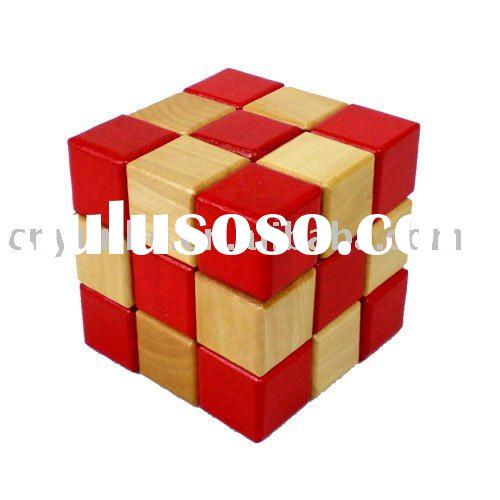 Colorful Wooden Brain Teaser Puzzle Toy Box