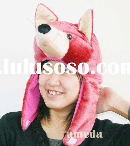 Cute Pink Fox Wolf Party Warm Costume Hat Mask Cap