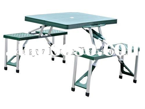 Green plastic folding picnic table--outdoor camping furniture