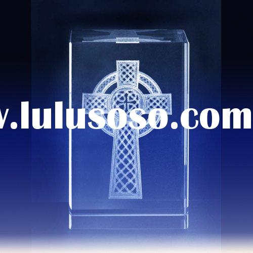 Optical Crystal Laser Engraved Cross Cube/Christian Gifts