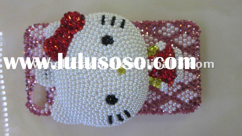 brand new style whole diamond mobile phone case cover for iphone4G-lovely Hello Kitty