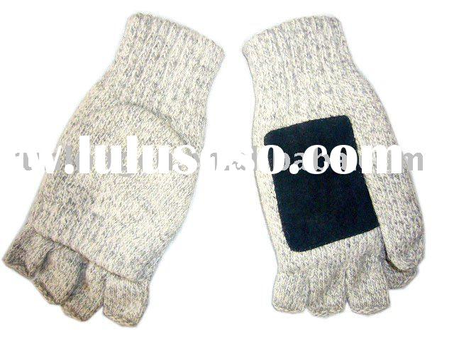 half finger knitted gloves with flap-RL-GL003