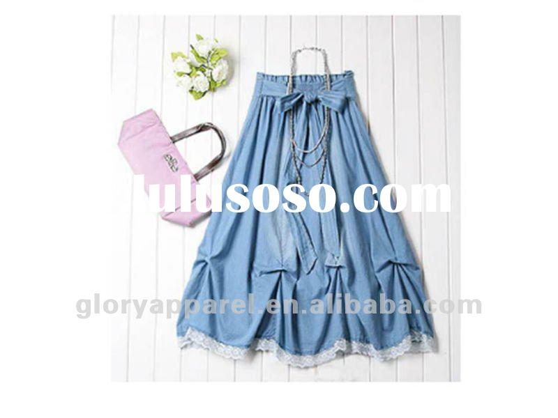 long strap jeans skirts for 2012 summer
