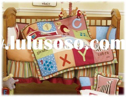 2012 INFANT,BABY CRIB BEDDING SET WITH LETTER EMBROIDERY