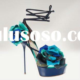2012 platform ladies high heel sandals/ fashion women shoes blue