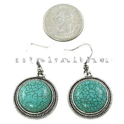 2012 vintage design fashion costume jewelry big turquoise earrings TER-1001