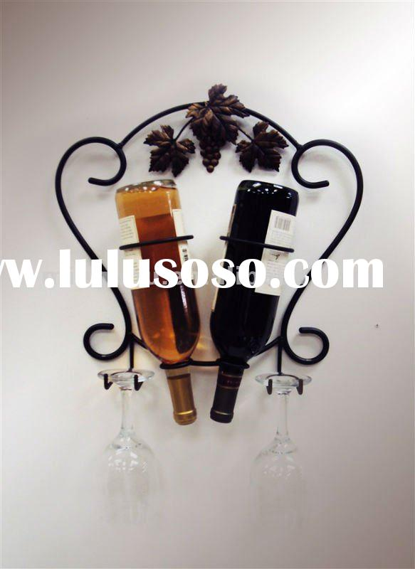 2 wine bottle with glass holder,wall mounted wine bottle holders ,made of metal with Chrome plated