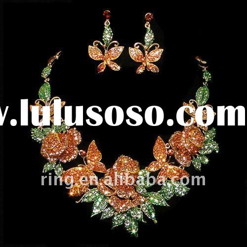 Big rose crystal butterfly wedding bridal earring necklace jewelry sets