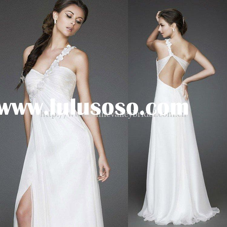Brand New One Shoulder Ruched Bust Amazing Beaded Floral Strap Front Slit Open Back Chiffon Beach We