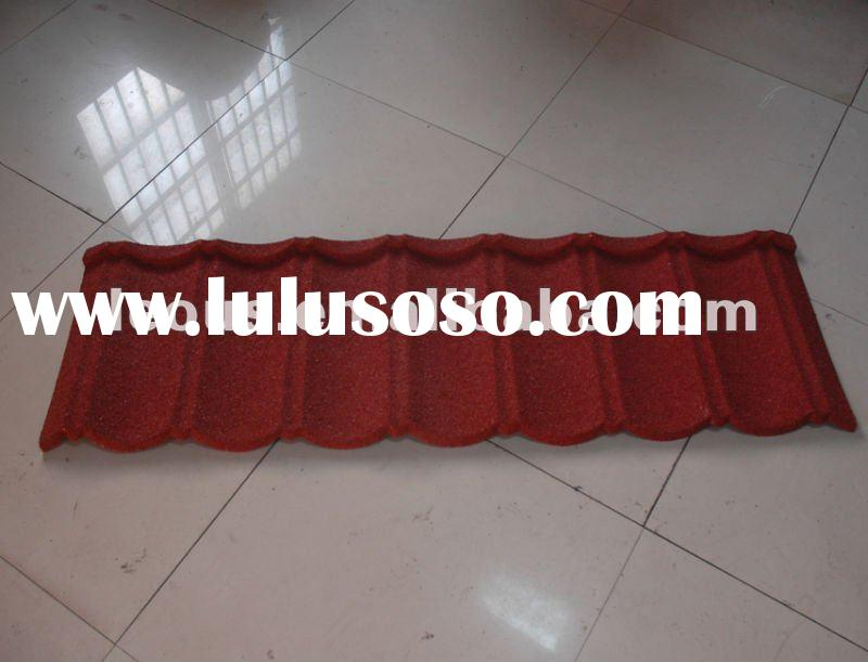 Buliding materials red stone-coated metal roof tiles