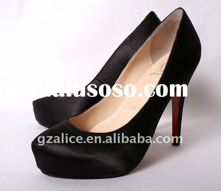 CL0109 New style round toe high-heel shoes,red sole satin silk dress shoes, black