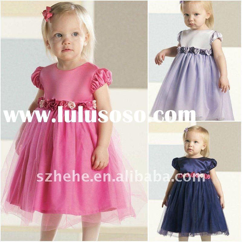 Cap sleeves flowers sash lilac/navy blue/hot pink infant flower girl dress