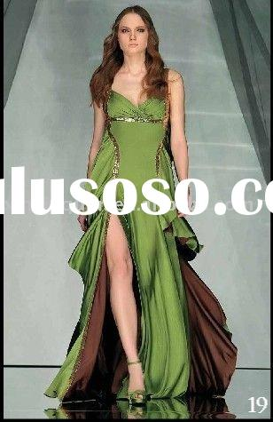 DE149 Hot sale custom made newest design spaghetti strap two-tone sequined women arabic evening dres