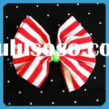 Elegant and Fashion Red and White Stripe Bow Hair Clip for Office Lady