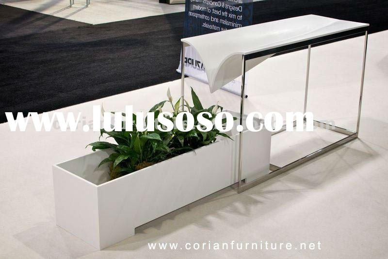 P 03 Elegant Corian Made Office Salon Hotel Front Desk For