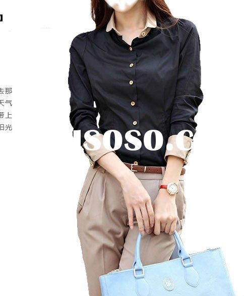 Fashion ladies casual designed long sleeve blouse