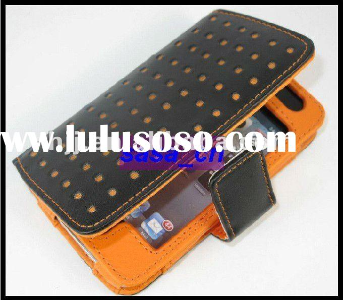 Flip 4S Leather Bag Wallet Carrying Cases for iPhone 4S 4G with Credit Card Slot
