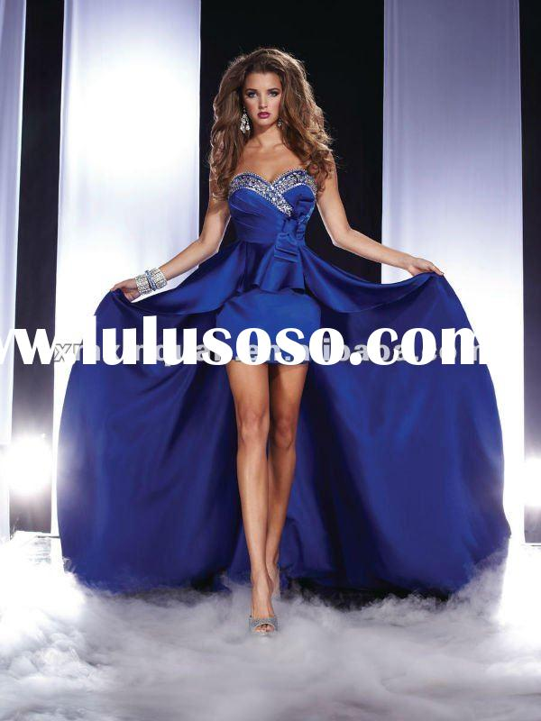 GJ105 Latest design ladies navy blue crystal beaded front short and long train arabic prom dress 201