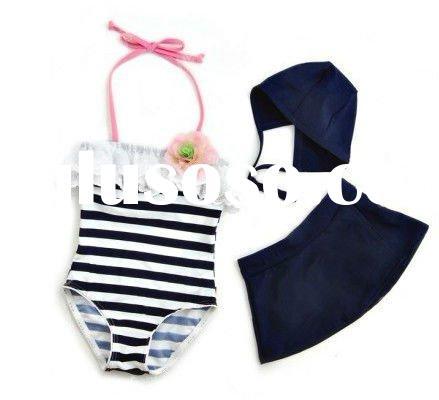Girls black white stripe bikini kids swimsuits beach suits bathing suits swimming wear