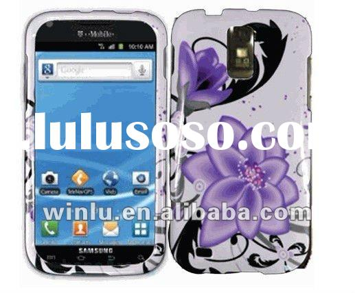 Hard Shell rubberized skin case with plum flower design for Samsung T989