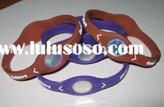 Health Silicone Power Wristbands with customized logo and hologram in Cheap price
