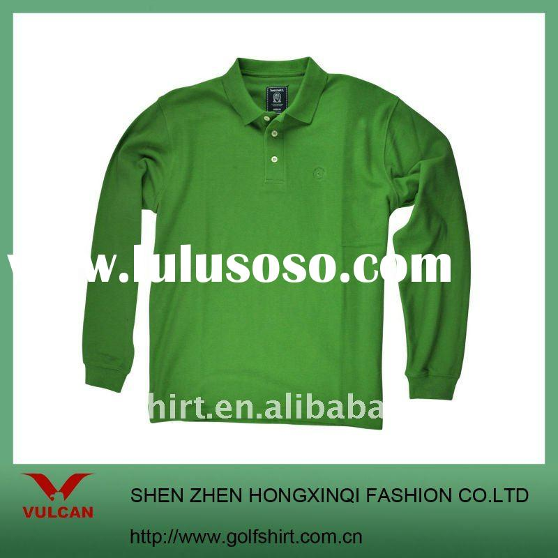 Heavy Cotton Blank Green Long Sleeve POLO Shirt