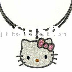 Hello kitty black Crystal necklace