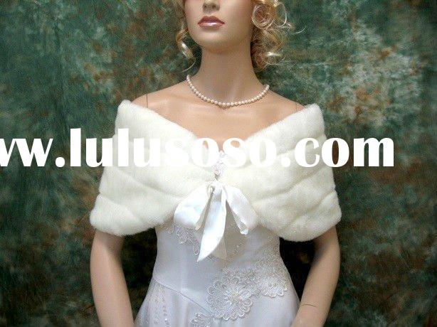 Ivory faux fur bridal wrap shrug stole shawl bolero wedding jacket DC-A007