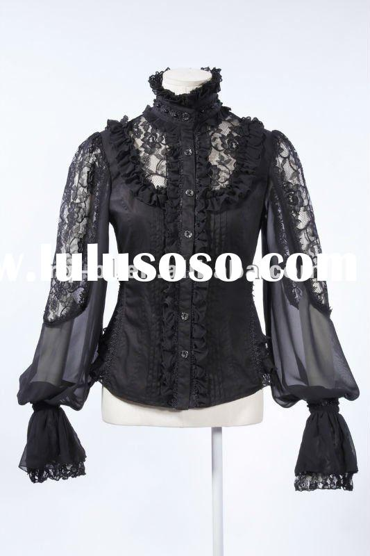 Long Sleeved Gothic Lace Blouse flared sleeves button up Black and Red/Black color 21152BK