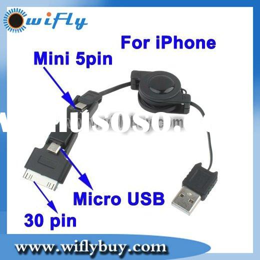 Micro USB , Mini 5pin Multi-functional Retractable Data Sync & Power Charge USB Cable for iPhone