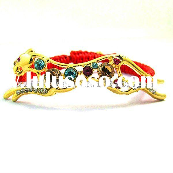 NEW!!! fashion custom design jewelry, hand made woven bracelet, waxed cord braided gold leopard char