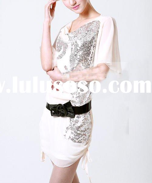 New fashion loose style sequins Lotus leaf sleeve plus size casual chiffon dress