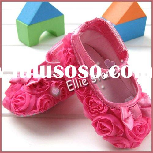 Pink Mary Jane Infant Baby Shoes Girls Toddler dress soft sole Rose flower
