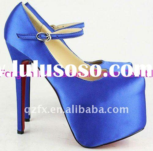 Satin high heel platform shoes, wedding party dress shoes(15-16cm)