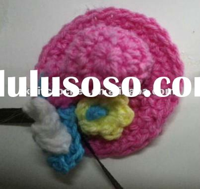 Super Cute Hand Crochet Mini Hat Baby Shower Gift with Tiny Crochet Flowers and Ribbon