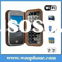 T2000 Quad Band Dual Card TV WiFi JAVA Qwerty Keypad Flat Touch Screen Cell Phone Black Keypad Leath