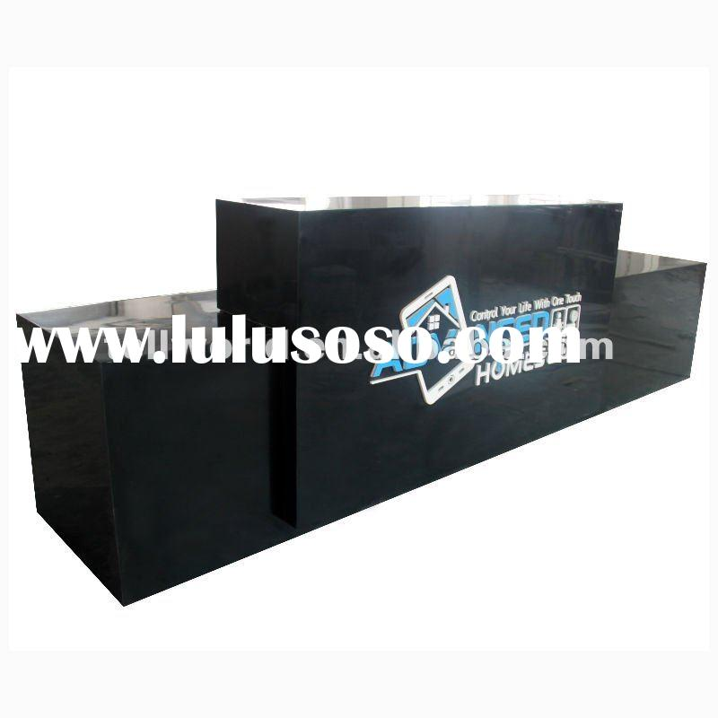 TW Modern Design OEM Black Acrylic Solid Surface Reception Counter