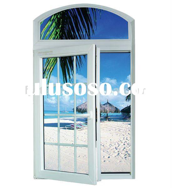 UPVC grille casement windows,swing and hinged windows,top arch windows with bar