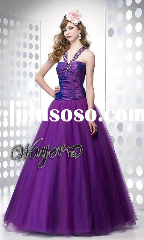 Unique Beaded Back Design Purple Tulle Prom Dress HL-PD407