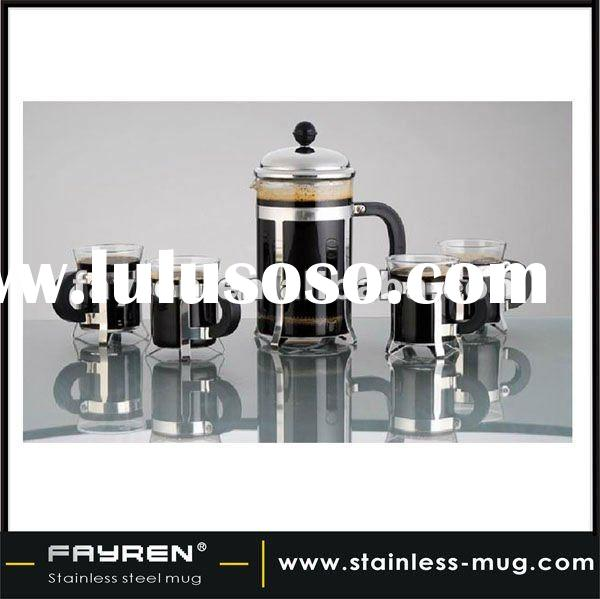 (1 pot +4 cups) glass and stainless steel coffee maker