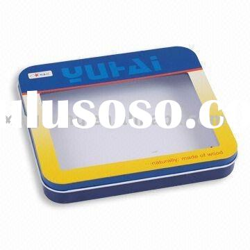 (Factory Direct Sale) Square Shaped Tin box with window