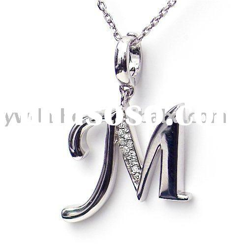 "alloy necklace,diamond initial pendant ""M"" necklace,fashion necklace(ALNB-6244)"