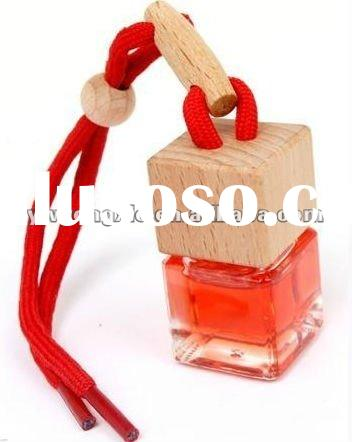 cheap wooden cap car crystal perfume bottle with beech stopper