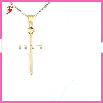 """child's yellow gold cross pendant with 15"""" rope chain(A104729)"""