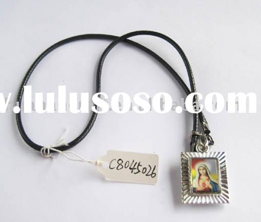 christian leather necklace with alloy pendent